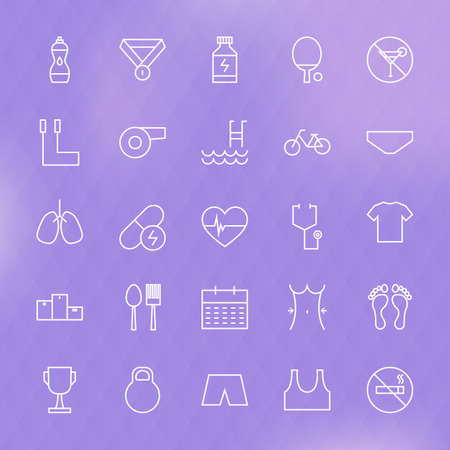 dieting: Sport and Healthy Lifestyle Line Icons Set. Vector Set of Fitness and Dieting Modern Thin Line Icons for Web and Mobile over Blurred Polygonal Background Stock Photo