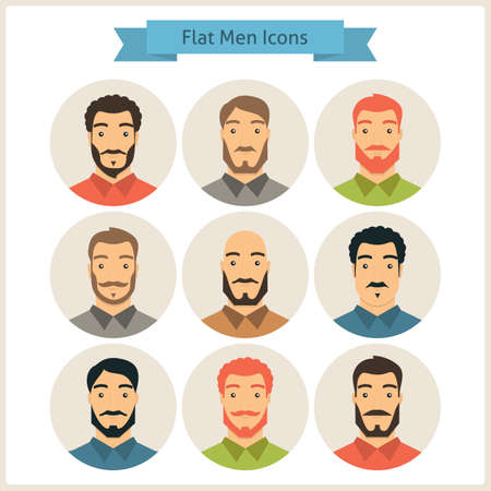 hairdress: Business People. Set of Men Avatars. Set of Men Characters. Vector Illustration. Flat Circle Icons. Men Characters for web. Hipster Fashion Beard. Stock Photo