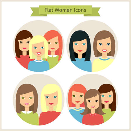 coiffure: Groups of Women Characters. Set of Women Avatars. Vector Illustration. Flat Circle Icons. Women Characters for web