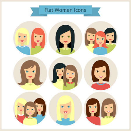 hairdress: Groups of Women Characters. Set of Women Avatars. Vector Illustration. Flat Circle Icons. Women Characters for web
