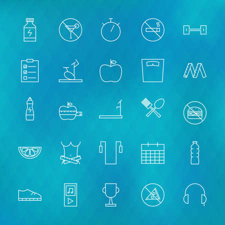 dieting: Fitness and Dieting Line Icons Set over Polygonal Blurred Background. Vector Set of Sport and Healthy Lifestyle Food Modern Thin Line Icons for Web and Mobile over Blurred Polygonal Background