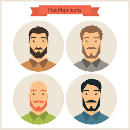 hairdress: Set of Men Avatars. Set of Men Characters. Vector Illustration. Flat Circle Icons. Men Characters for web. Hipster Fashion Beard. Business People