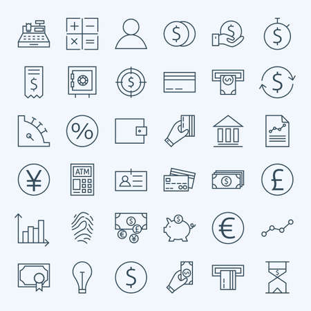 Línea Finanzas Dinero y Banca Iconos Conjunto. Vector Conjunto de 36 Line Art Icons modernos para web y móvil. Bank y Banca. Débito y Crédito. Dinero y Finanzas Artículos. Inversiones y Negocios Ganancias objetos. Ilustración de vector
