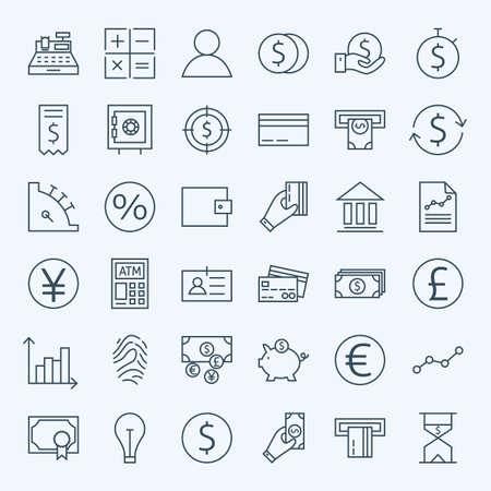 Line Financiën Geld en Bankwezen Icons Set. Vector Set van 36 Line Art Moderne Pictogrammen voor Web en Mobile. Bank en Banking. Debet en Credit. Geld en Financiën Items. Zakelijke investeringen en winst Objects. Stock Illustratie