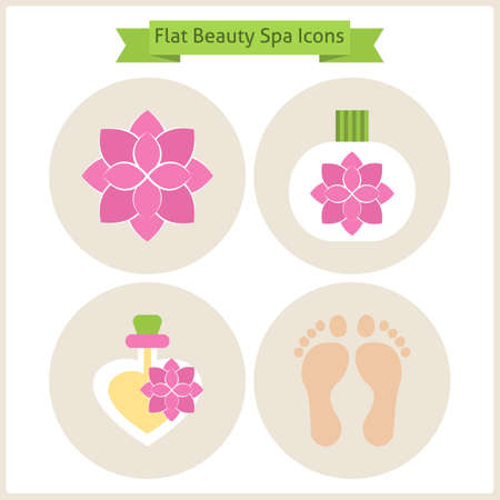 reflexology: Flat Flower Beauty and Spa Icons Set. Set of Natural Beauty Ingredients. Vector Illustration. Flat Circle Icons for web. Body Beauty and Procedure. Reflexology and Spa. Health lifestyle