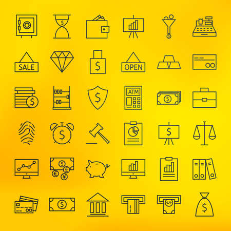 big icons: Bank Banking and Finance Business Line Big Icons Set. Vector Set of Line Art Modern Icons for Web and Mobile. Bank and Banking. Debit and Credit. Money and Finance Items. Business Investments and Earnings Objects. Blurred background. Illustration
