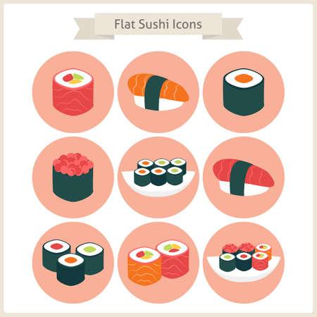 sushi set: Flat Big Sushi Set Circle Icons. Set of Japanese Food. Vector Illustration. Flat Circle Icons for web. Sushi rolls and sashimi. Restaurant food. Asian Menu Illustration