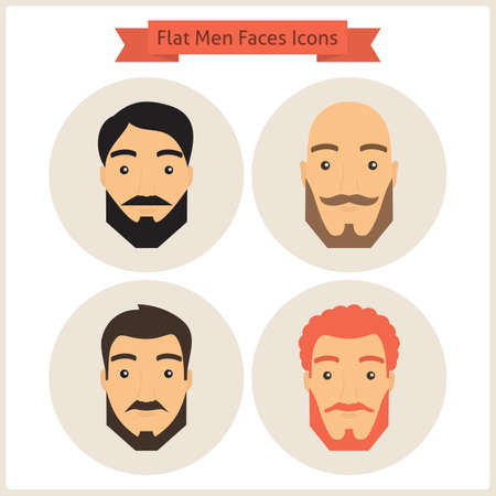 hairdress: Flat Circle Men with Faces Icons Set. Set of Men Avatars. Set of Men Characters. Vector Illustration. Men Characters for web. Hipster Fashion Beard. Business People