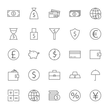big icons: Money Finance Banking Big Icons Set. Vector Set of Line Art Modern Icons for Web and Mobile. Bank and Banking. Money and Finance Items. Business Marketing and Shopping Objects. Earnings and Investments.