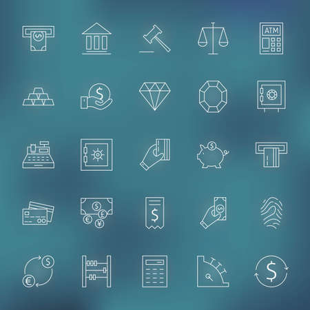 bankomat: Money Finance Banking. Vector Set of Thin Line Art Modern Icons for Web and Mobile. Bank and Banking. Debit and Credit. Money and Finance Items. Business Investments and Earnings Objects. Blurred background. Illustration