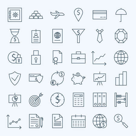 piggy bank money: Line Money Finance and Banking Icons Set. Vector Set of 36 Line Art Modern Icons for Web and Mobile. Bank and Banking. Money and Finance Items. Business Commerce Marketing and Shopping Objects.