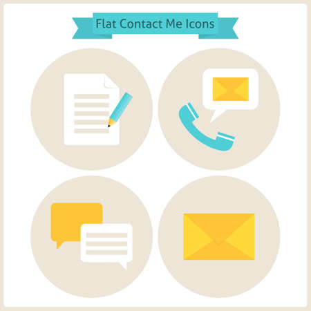 Flat Contact Me Website Icons Set. Set of Business Website Objects. Vector Illustration. Flat Circle Icons for web. Contact and About me Office Objects.