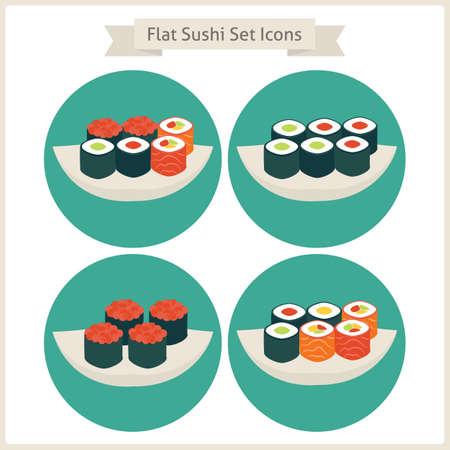 日本料理: フラット フード寿司セット サークル アイコン。日本食品のセットです。レストランの料理。メニュー。ベクトルの図。フラット サークル アイコン web。寿司をロールバックします。レストランの料理。アジア メニュー