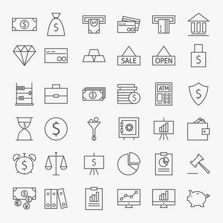 Línea Banca Dinero y Finanzas iconos Conjunto Grande. Vector Conjunto de 36 Line Art Icons modernos para web y móvil. Bank y Banca. Dinero y Finanzas Artículos. Marketing comercial y de negocios objetos.