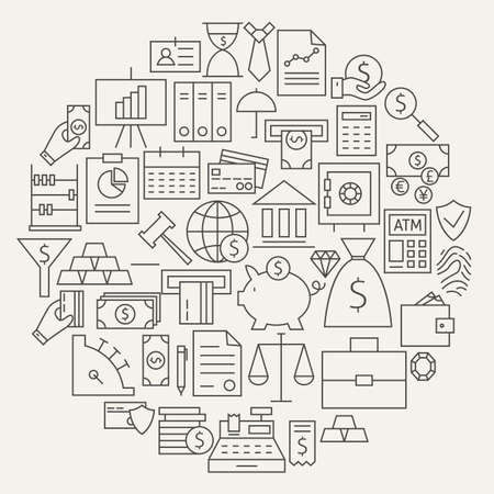 Money Finance Banking Line Icons Set cirkelvormige. Vector Illustratie van de Bank en Banking Objects. Geld en Financiën Items. Business and Office. Stock Illustratie