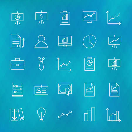 investment banking: Business Chart Graph and Finance Line Icons Set over Polygonal Blurred Background. Vector Set of Line Art Modern Icons for Web and Mobile. Business Money Success and Office Items. Graph and Infographics Objects. Blurred Background. Illustration