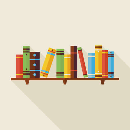 book shelves: Flat Bookshelf Reading Books Illustration with Shadow. Back to School and Education Vector illustration. Flat Style Colorful Books with long Shadow. Library Interior.