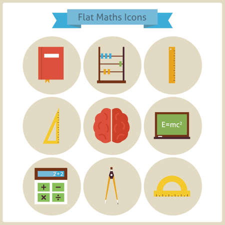 math icon: Flat School Maths and Physics Icons Set. Back to School. Science and Education Set. Collection of School and University Circle Icons. Measure Instruments