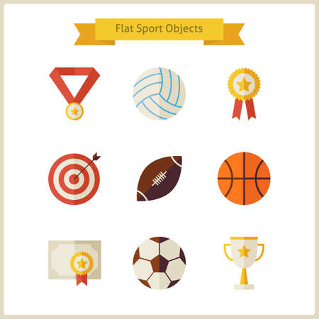 sports winner: Flat Sport and Competition Winning Objects Set. Sports and Activities. Success Leader and Winner. First place. Collection of Back to School Objects isolated over white. Healthy Lifestyle. Illustration