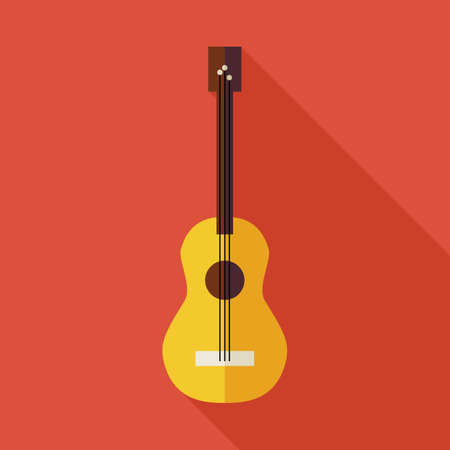 arts and entertainment: Flat Music String Guitar Illustration with long Shadow. The Arts Entertainment Vector illustration. Flat Style Colorful Musical Instrument Object