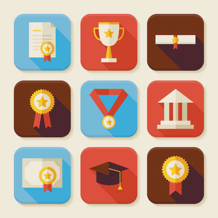 application university: Flat Graduation and Success Squared App Icons Set. Flat Style Vector Illustrations. Back to School. Graduate from University. Diploma and Certificate. Collection of Square Rectangular Shape Application Colorful Icons with Long Shadow Illustration