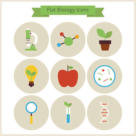 phytology: Flat School Biology Icons Set. Flat Styled Vector Illustrations. Back to School. Science and Education Set. Collection of Chemistry Botany Phytology and Research Objects. Circle Icons