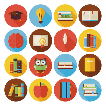 Flat Reading Knowledge and Books Circle Icons Set with long Shadow. Flat Styled Vector Illustrations. Back to School. Science and Education Set. Collection of Circle Icons Çizim