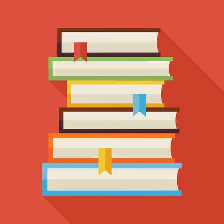 Livres de lecture à plat Illustration de la connaissance avec l'ombre. Retour à l'école et l'éducation Vector illustration. Livres colorés style plat avec longue ombre. Intérieur de la bibliothèque. Lire des livres avec des signets