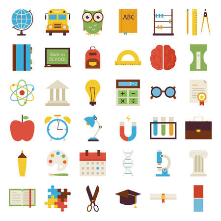 Big Flat Back to School Objects Set. Flat Styled Vector Illustrations. Back to School. Science and Education Set. Collection of Objects isolated over white.