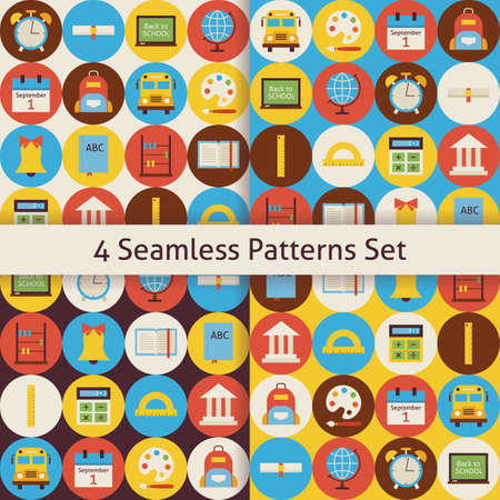 round back: Back to School Patterns Set with Colorful Circles. Flat Style Vector 4 Seamless Texture Backgrounds.  Collection of Science and Education Templates. Back to School.