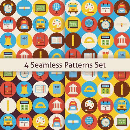 calendario escolar: Volver a la Escuela de Modelos Set con c�rculos de colores. Flat Style Vector 4 Seamless textura Fondos. Colecci�n de plantillas ciencia y la educaci�n. Regreso a la escuela. Vectores