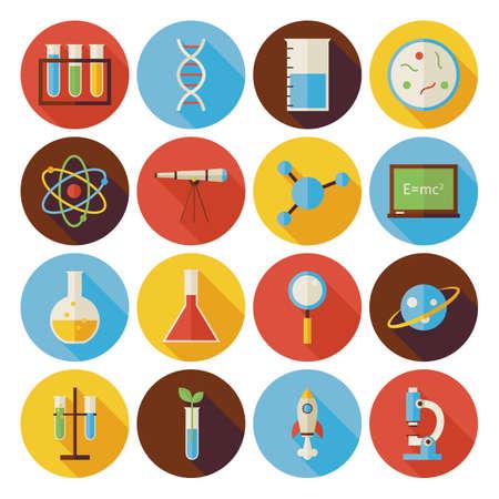 Flat wetenschap en onderwijs Circle Icons Set met lange schaduw. Flat Style Vector illustraties. Terug naar school. Het verzamelen van de chemie Biologie Natuur- en Sterrenkunde Onderzoek Circle Icons