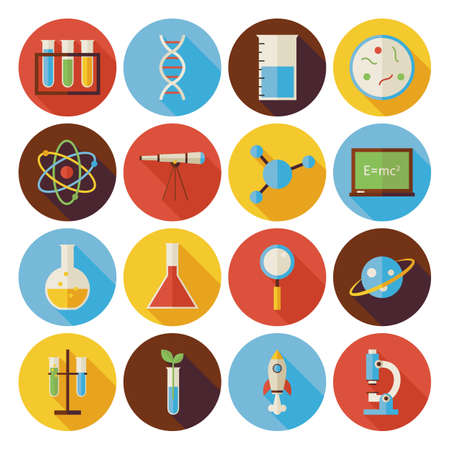 Flat Science and Education Circle Icons Set with long Shadow. Flat Style Vector Illustrations. Back to School. Collection of Chemistry Biology Physics Astronomy and Research Circle Icons Vettoriali