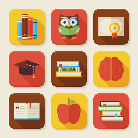 reading app: Flat Reading Knowledge and Books Squared App Icons Set. Flat Style Vector Illustrations. Back to School. Science and Education Set. Collection of Square Rectangular Shape Application Colorful Icons with Long Shadow