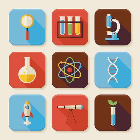 science icons: Flat Science and Education Squared App Icons Set.  Flat Style Vector Illustrations. Back to School. Chemistry Biology Physics Astronomy and Research. Collection of Square Rectangular Shape Application Colorful Icons with Long Shadow Illustration