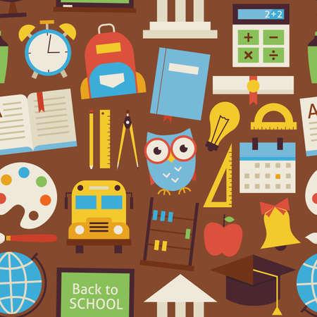 Naadloos Patroon Back to Objects School en onderwijs meer dan Brown. Flat Style Vector Naadloze Textuur Achtergrond. Het verzamelen van Onderwijs en Wetenschappen Templates. University en College Stock Illustratie