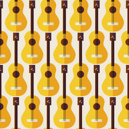 arts and entertainment: Pattern Music Instrument Guitar. Flat Style Vector Seamless Texture Background. Musical Template. Arts and Entertainment. String Guitar. Acoustic guitar