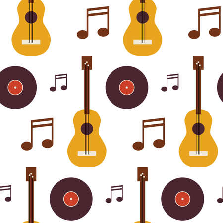 arts and entertainment: Pattern Music Vinyl Disc Guitar and Note. Flat Style Vector Seamless Texture Background. Musical Template. Arts and Entertainment. Rock and Sound. Acoustic guitar Illustration