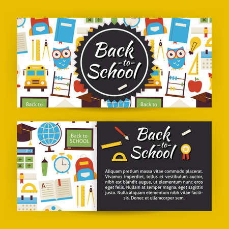 Back to School and Education Template Banners Set. Modern Flat Style Design Vector Illustration of Brand Identity for Knowledge Science University and College Promotion. Colorful Pattern for Advertising Vettoriali