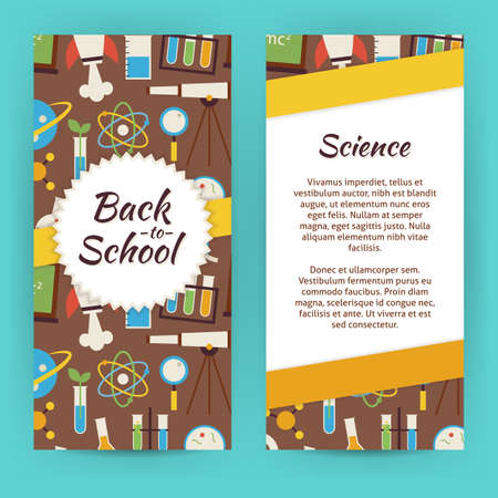 biology: Flyer Template of School Knowledge Science and Education Objects and Elements. Flat Style Design Vector Illustration of Brand Identity for Chemistry Biology Physics Astronomy and Research Promotion. Colorful Pattern for Advertising