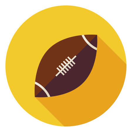 Flat Sports Ball American Football. Back to School and Education Vector illustration. Flat Style Colorful Sports Item Circle Icon with Long Shadow. Leisure and Activity. Team Sport and Fitness. Physical Education