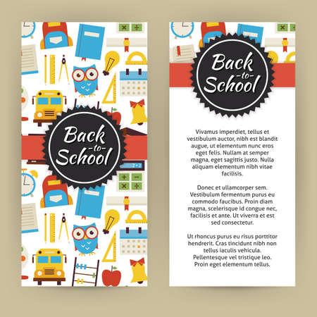 school books: Flyer Template of Back to School and Education Objects and Elements. Flat Style Design Vector Illustration of Brand Identity for Knowledge Science University and College Promotion. Colorful Pattern for Advertising
