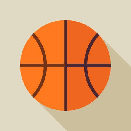 terrain de basket: Appartement Sports de ballon de basket-ball. Retour � l'�cole et de l'�ducation Vector illustration. Design plat color� Sport illustration d'objet avec Long Shadow. Loisirs et activit�. Sport d'�quipe et de remise en forme. L'�ducation physique