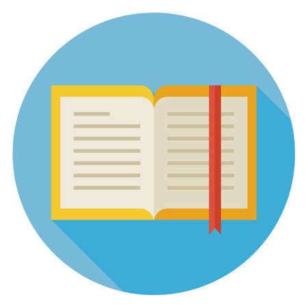 open: Flat Design Open Book with Bookmark Circle Icon with Long Shadow. Back to School and Education Vector illustration. Flat Style Colorful Book with Bookmark. Grammar literature. Studying and Learning. Illustration
