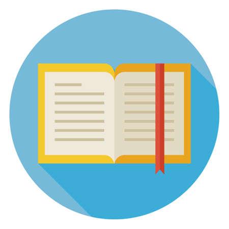 libro abierto: Piso Diseño libro abierto con el icono Círculo Marcar con larga sombra. Regreso a la Escuela y Educación Vector ilustración. Plano Estilo libro colorido con marcadores. Literatura Gramática. Estudiar y Aprender.
