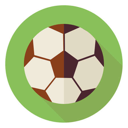 physical: Flat Sports Ball Soccer Football. Back to School and Education Vector illustration. Flat Style Colorful Sports Item Circle Icon with Long Shadow. Leisure and Activity. Team Sport and Fitness. Physical Education
