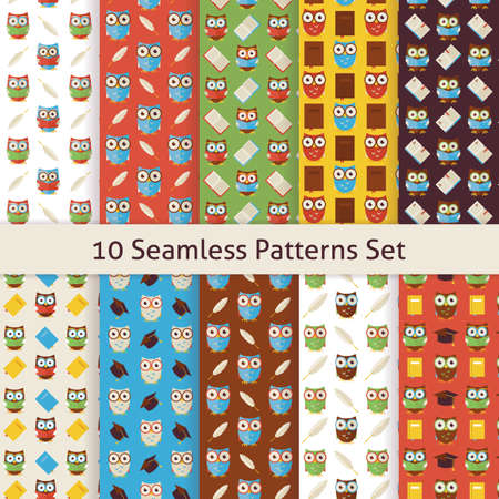 owl: School and Education Owls Flat Design Seamless Patterns Set. Flat Style Vector10 Texture Backgrounds. Collection of Knowledge Templates. Back to School. Wisdom Bird Owl