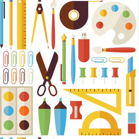 pen on paper: Pattern Back to School Objects and Office Instruments. Flat Style Vector Seamless Texture Background. Collection of Science and Education Templates. University and College