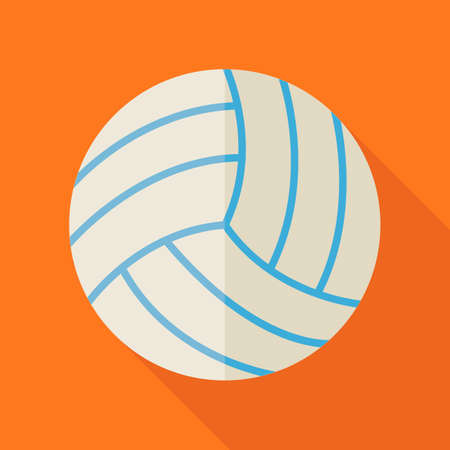 physical education: Flat Sports Ball Volleyball. Back to School and Education Vector illustration. Flat Design Colorful Sports Item illustration with Long Shadow. Leisure and Activity. Team Sport and Fitness. Physical Education