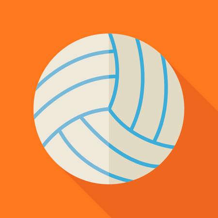 educacion fisica: Piso Deportes bola Voleibol. Regreso a la Escuela y Educaci�n Vector ilustraci�n. Dise�o plano coloridas Deportes ilustraci�n de art�culos con Long Shadow. Ocio y Actividades. Deporte de equipo y buena condici�n f�sica. Educaci�n F�sica Vectores